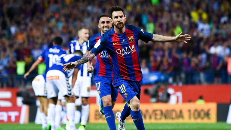 Lionel Messi of FC Barcelona celebrates after scoring his team's first goal during the Copa Del Rey Final between FC Barcelona and Alaves