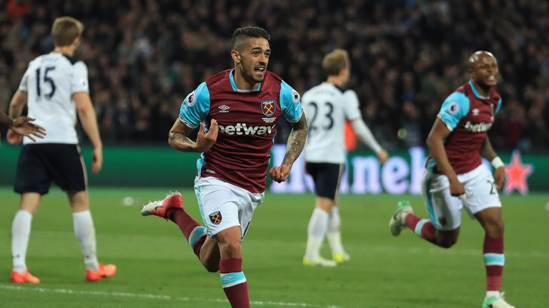 STRATFORD, ENGLAND - MAY 05:  Manuel Lanzini of West Ham United celebrates after scoring the opening goal during the Premier League match between West Ham