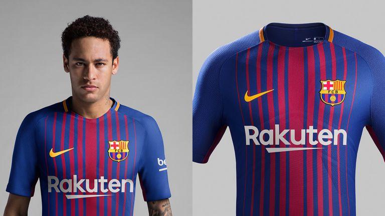 Neymar models Barcelona's new Nike home kit