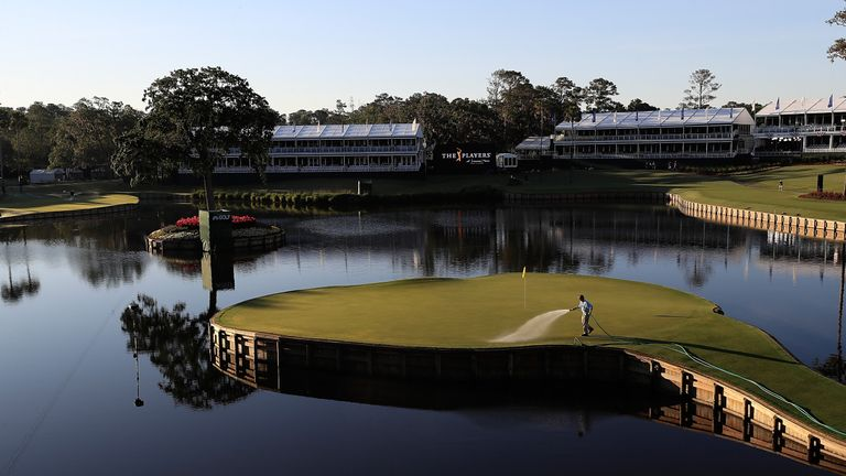 PONTE VEDRA BEACH, FL - MAY 09:  A scenic view of the 17th hole as seen during a practice round prior to the THE PLAYERS Championship at the Stadium course
