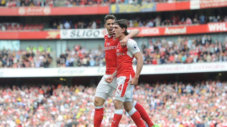 Hector Bellerin celebrates hi goal with Gabriel