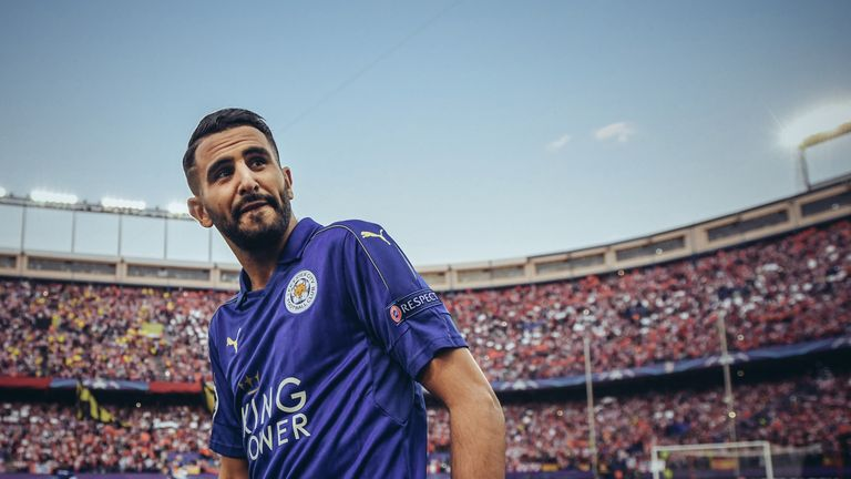 MADRID, SPAIN - APRIL 12:  [EDITORS NOTE: THIS IMAGE WAS PROCESSED USING DIGITAL FILTERS] Riyad Mahrez looks on during the UEFA Champions League Quarter Fi
