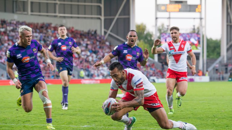 Zeb Taia scores a try against Wigan