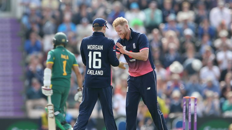 England's Ben Stokes celebrates with Eoin Morgan after taking the wicket of South Africa's Hashim Amla during the One Day International at the Ageas Bowl