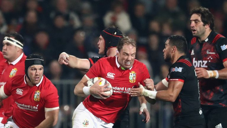 Alun Wyn Jones of the Lions charges upfield