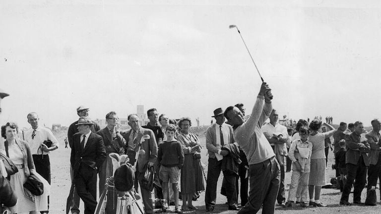 Arnold Palmer practising his swing during his winning round in 1961