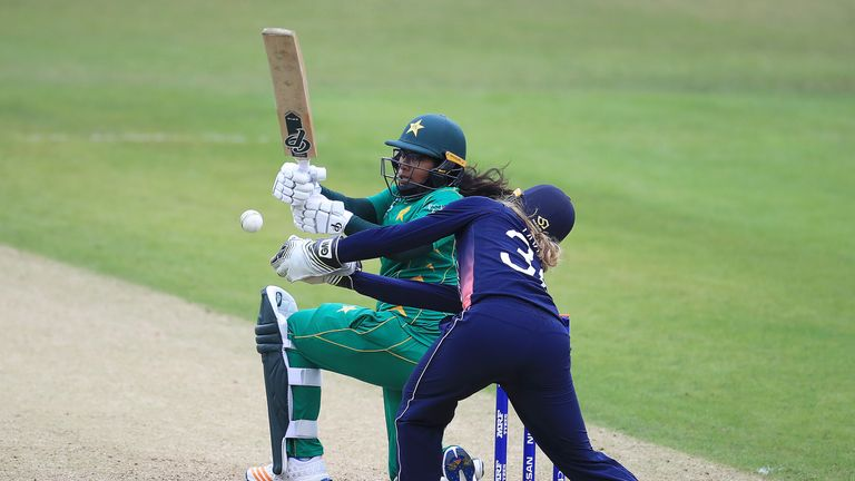 Pakistan's Ayesha Zafar bats during the ICC Women's World Cup match against England at Grace Road