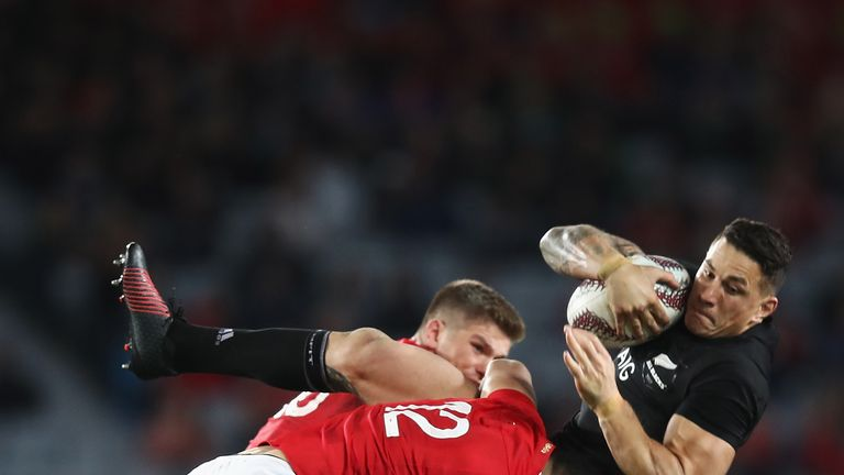 Lions' Ben Te'o tackles Sonny Bill Williams in first Test match against New Zealand