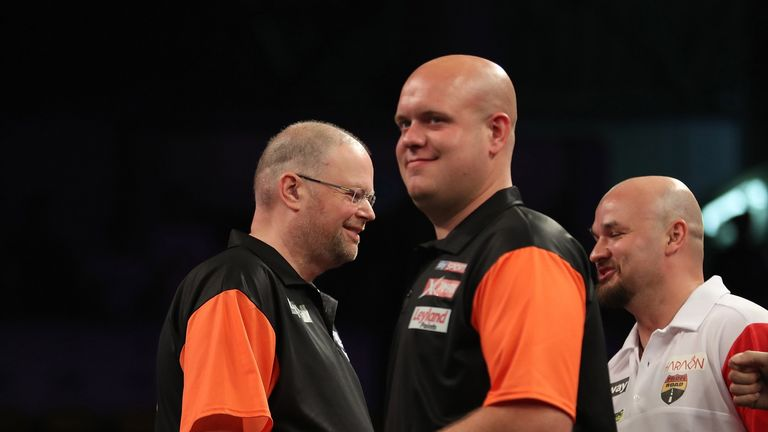 Michael Van Gerwen smiles during Netherlands' win over Czech Republic (Pic: Lawrence Lustig/PDC)