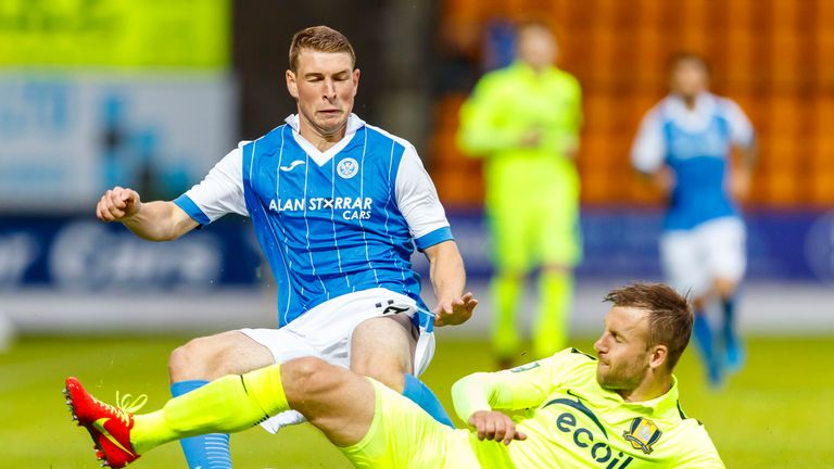 David Wotherspoon and Trakai's Arunas Klimavicius jostle for possession at McDiarmid Park