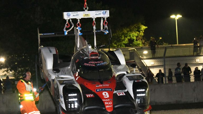 The number nine Toyota retired after contact