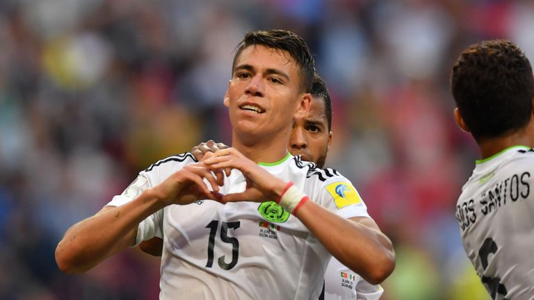 Mexico's defender Hector Moreno celebrates his goal against Portugal