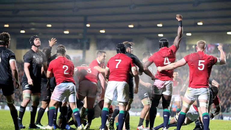 The Lions forwards celebrate the penalty-try