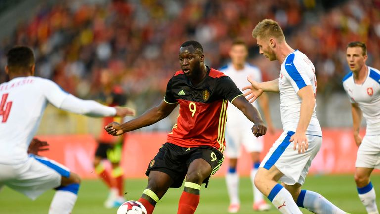 Romelu Lukaku battles for the ball in Monday night's friendly with the Czech Republic