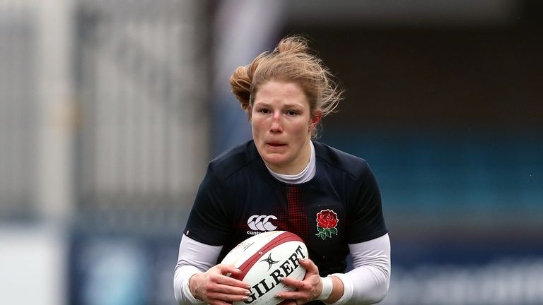 Lydia Thompson in action for England