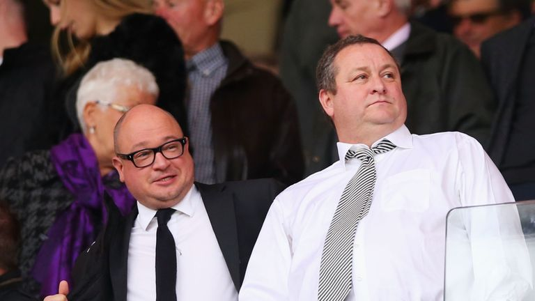 Newcastle owner Ashley (R) stands alongside Managing director Lee Charnley (L)