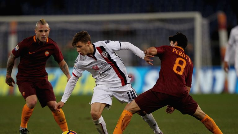 Nicolo Barella (centre) has been linked with a move away from Cagliari