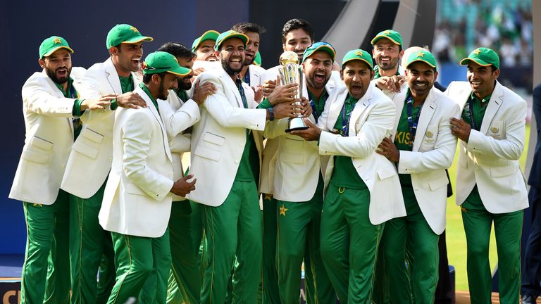 Pakistan lift the ICC Champions Trophy after being India in the final