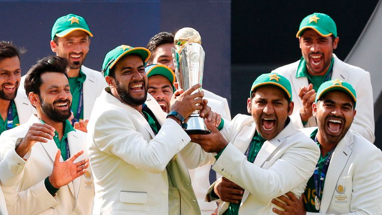 Pakistan lift the Champions Trophy aloft after their final win over rivals India