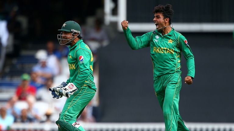 Pakistan's teenage legspinner Shadab Khan celebrates one of his two wickets in the final