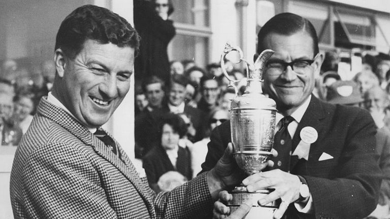 Thomson of Australia receives the Claret Jug after his fifth Open victory