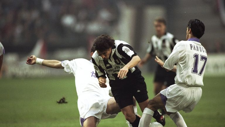 Juventus forward Alessandro Del Piero (centre) tries to escape the close attentions of two Real Madrid players in Amsterdam