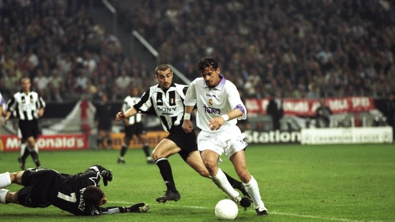Predrag Mijatovic (right) scores Real Madrid's winner against Juventus