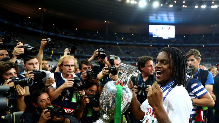Renato Sanches lifts the Euro 2016 trophy last summer