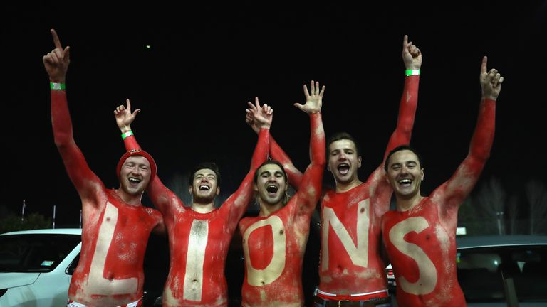Lions fans celebrate after their side's victory over the Chiefs