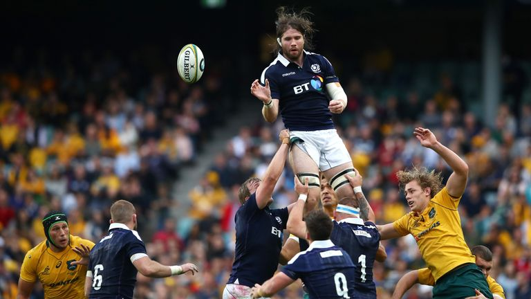 Ben Toolis of Scotland takes a lineout ball