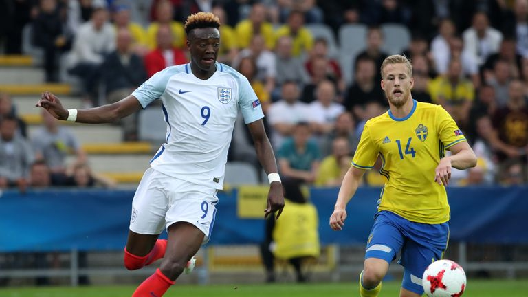 England's Tammy Abraham looks to get in behind the Sweden defence