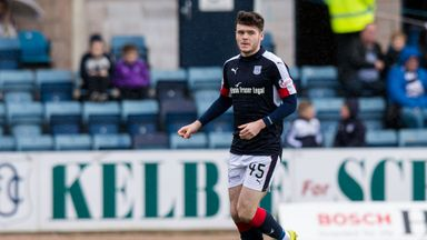 Daniel Higgins playing for Dundee against Hamilton