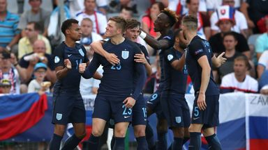 England U21s celebrate crucial win against Slovakia in European Championship group stage
