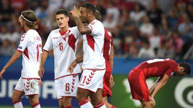 Kenneth Zohore (centre) scored twice in Denmark's 4-2 win over the Czech Republic