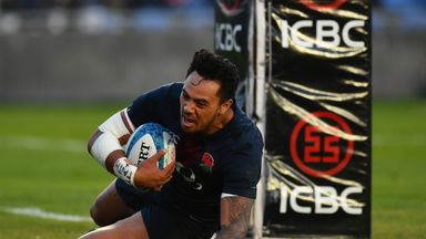 Denny Solomona scores the winning try for England against Argentina