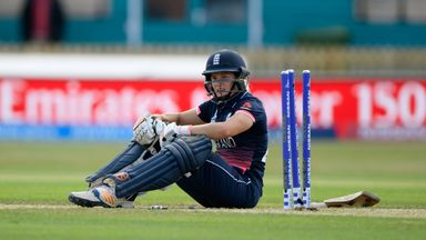 Katherine Brunt is run out as England Women lose to India in their World Cup opener