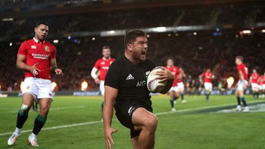 New Zealand's Codie Taylor celebrates scoring his side's first try during the first test of the 2017 British and Irish Lions tour at Eden Park, Auckland.