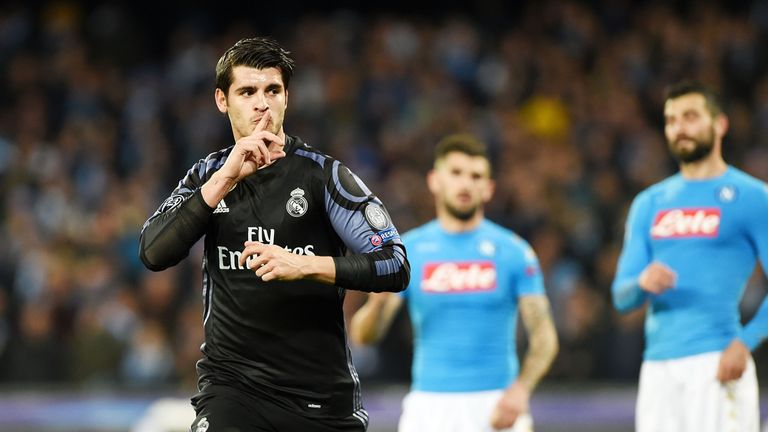 Alvaro Morata celebrates after scoring against Napoli during the Champions League Round-of-16 match
