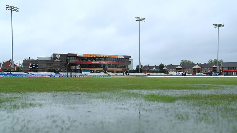 Standing water on the outfield forced the abandonment of the World Cup clash at Derby