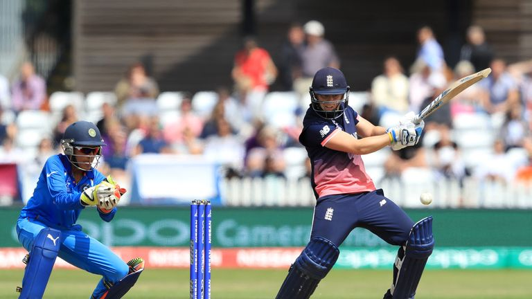 Heather Knight of England bats during the England v India group stage match at the ICC Women's World Cup 2017 at The 3aaa County