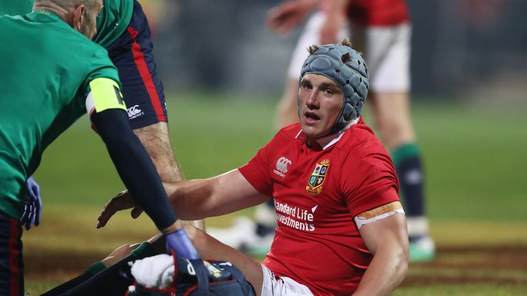 Jonathan Davies of the Lions receives treatment for a head injury during the 2017 British & Irish Lions tour match