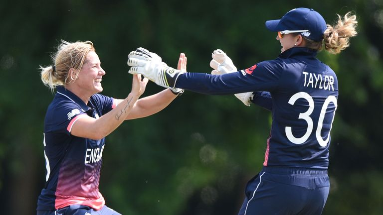 Katherine Brunt and Sarah Taylor celebrate a Sri Lankan wicket