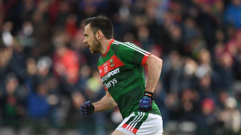 Kevin McLoughlin of Mayo celebrates after scoring an early goal  during the Connacht Semi-Final match between Galway and Mayo