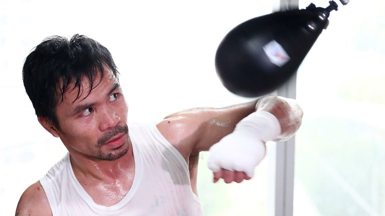 MANILA, PHILIPPINES - MAY 19:  Manny Pacquiao trains at Elorde boxing Gym on May 19, 2017 in Manila, Philippines.  (Photo by Chris Hyde/Getty Images)