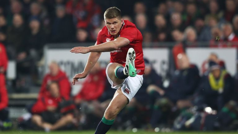 CHRISTCHURCH - JUNE 10 2017:  Owen Farrell kicks his team's second penalty during the 2017 British & Irish Lions tour match against Crusaders