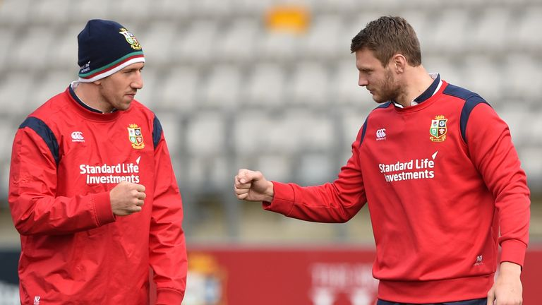 Justin Tipuric (L) and Dan Biggar during the captain's run ahead of the Lions' clash with the Hurricanes