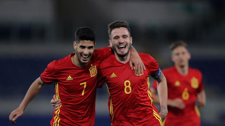 Niguez Saul (R) with his teammate Asensio Marco of Spain U21 celebrates after scoring the opening during the international friendl