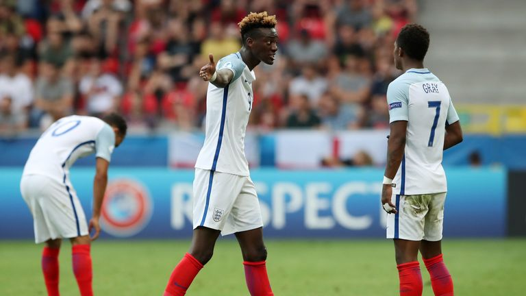 Tammy Abraham (pictured) and Nathan Redmond saw their penalties saved as England were knocked out of the U21 Euros by Germany