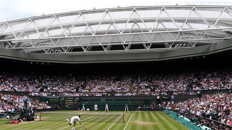 A view of Centre Court at Wimbledon