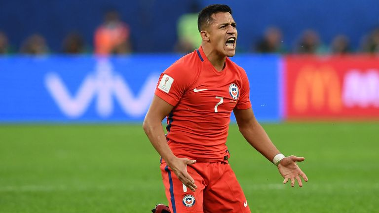 Arsenal forward Alexis Sanchez shows his frustration during Chile's Confederations Cup final defeat